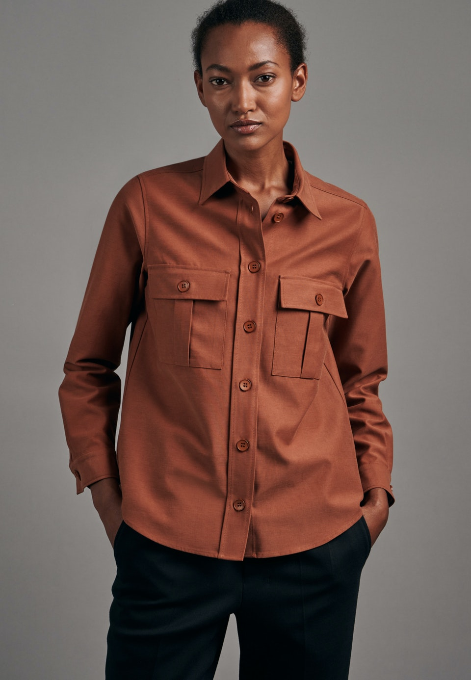 Twill Shirt Blouse made of cotton blend in Orange |  Seidensticker Onlineshop