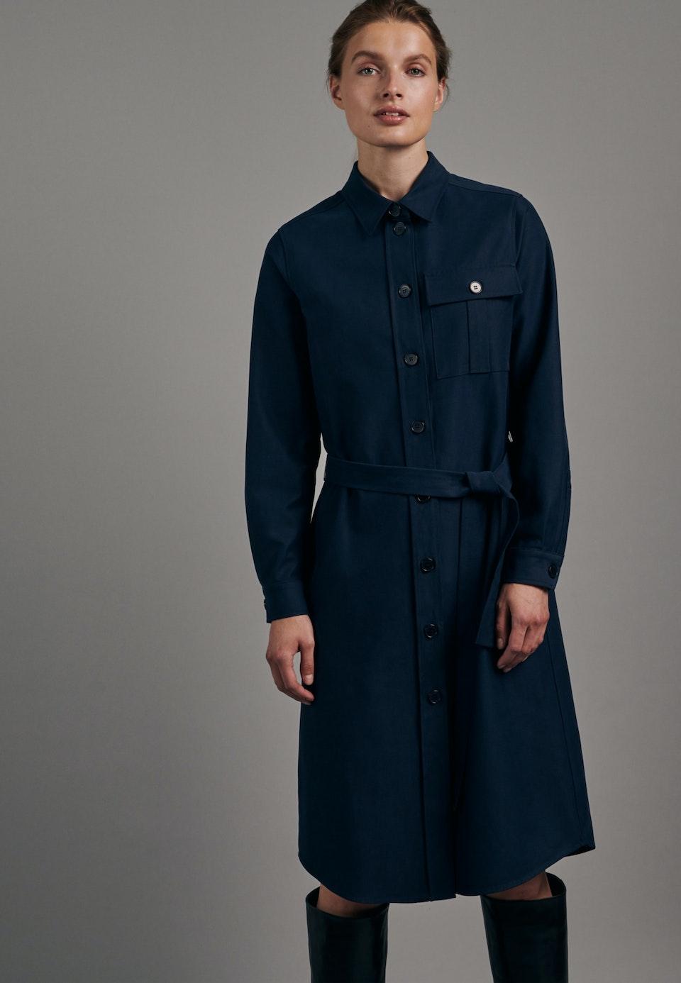 Twill Midi Dress made of cotton blend in Dark blue |  Seidensticker Onlineshop
