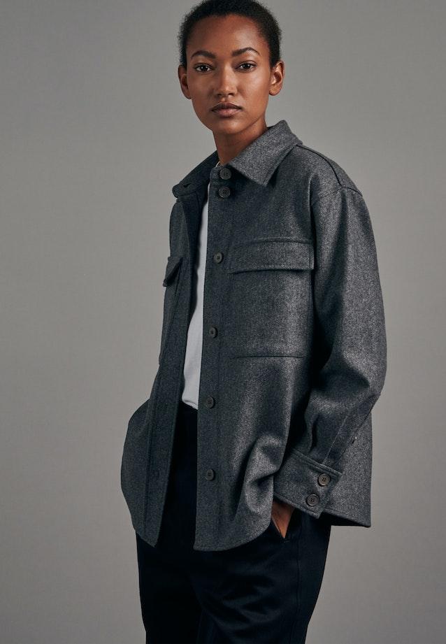 Flanell Blusenjacke aus Wollmischung in Grau |  Seidensticker Onlineshop