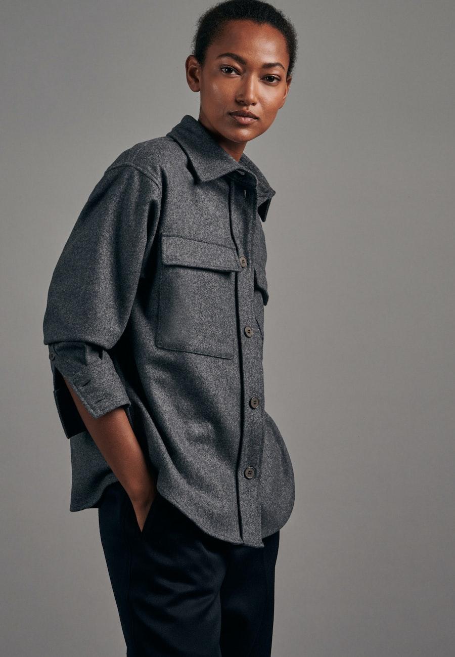 Flanell Blouse Jacket made of wool blend in Grey |  Seidensticker Onlineshop