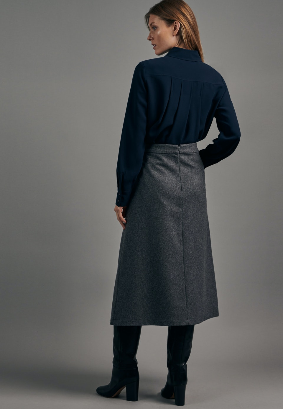 Flannel Midi Skirt made of wool blend in Grey    Seidensticker Onlineshop