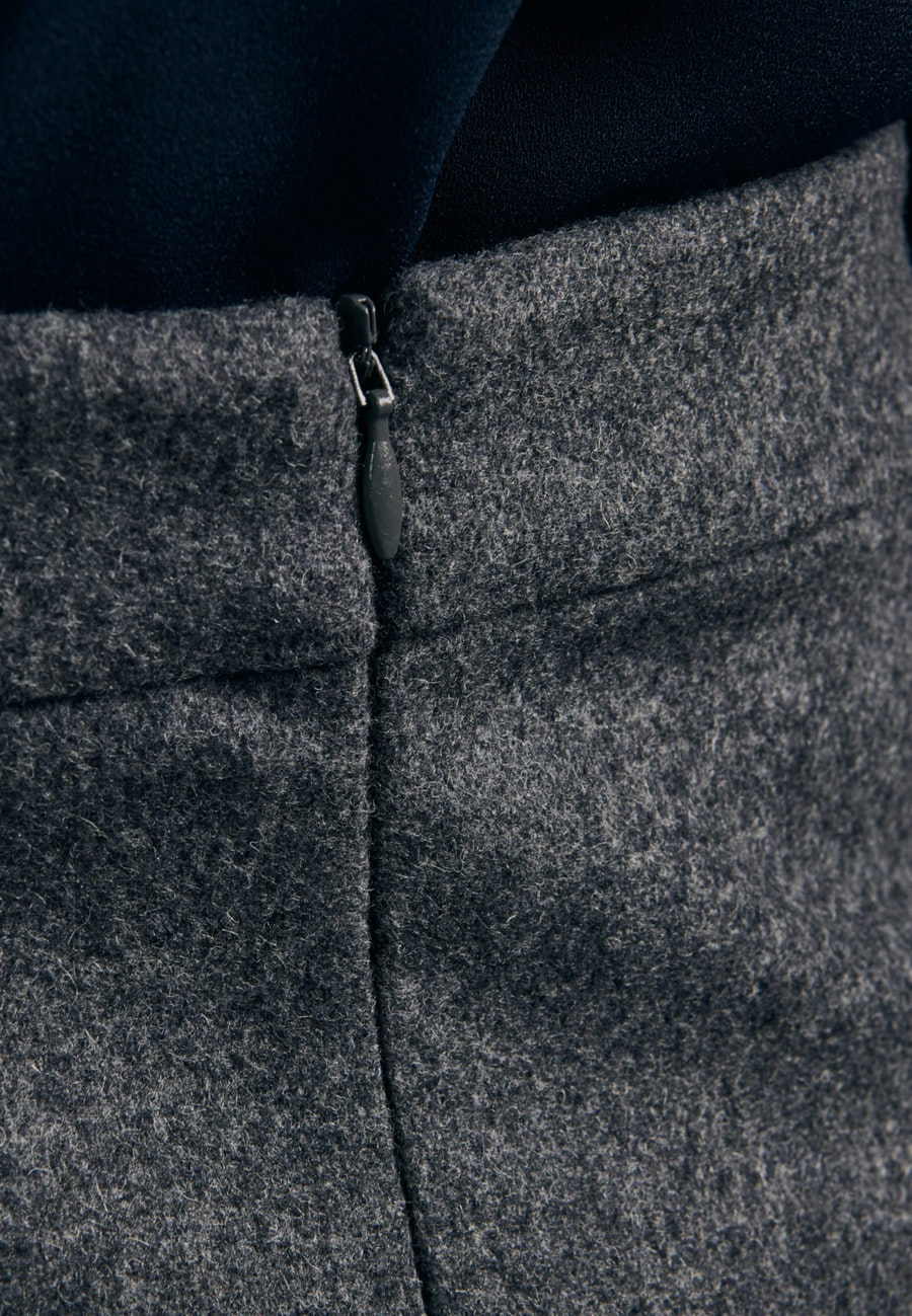 Flanell Midi Skirt made of wool blend in Grey    Seidensticker Onlineshop