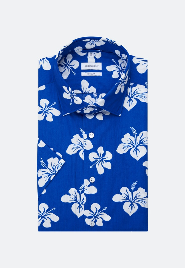Easy-iron Popeline Short sleeve Business Shirt in Regular with Kent-Collar in Medium blue |  Seidensticker Onlineshop