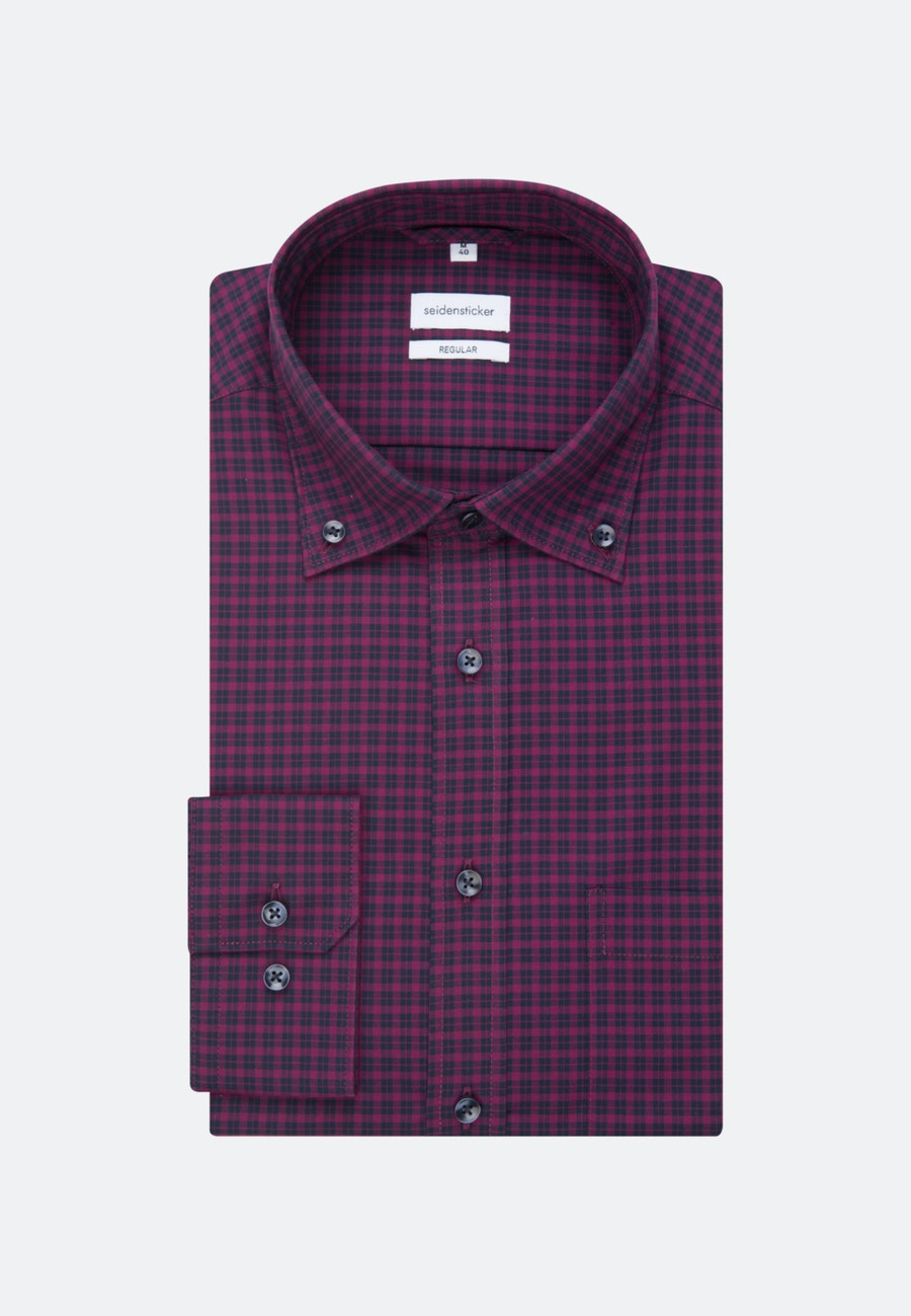 Non-iron Popeline Business Shirt in Regular with Button-Down-Collar in Pink |  Seidensticker Onlineshop