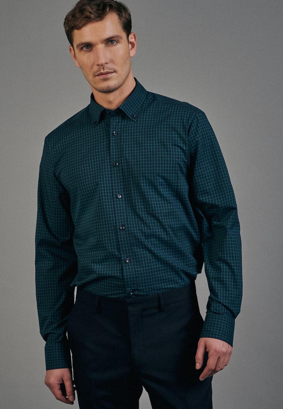Non-iron Popeline Business Shirt in Regular with Button-Down-Collar in Green    Seidensticker Onlineshop