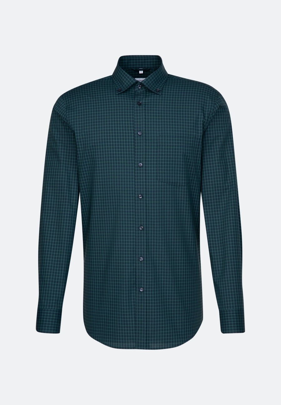 Bügelfreies Popeline Business Hemd in Regular mit Button-Down-Kragen in Grün    Seidensticker Onlineshop