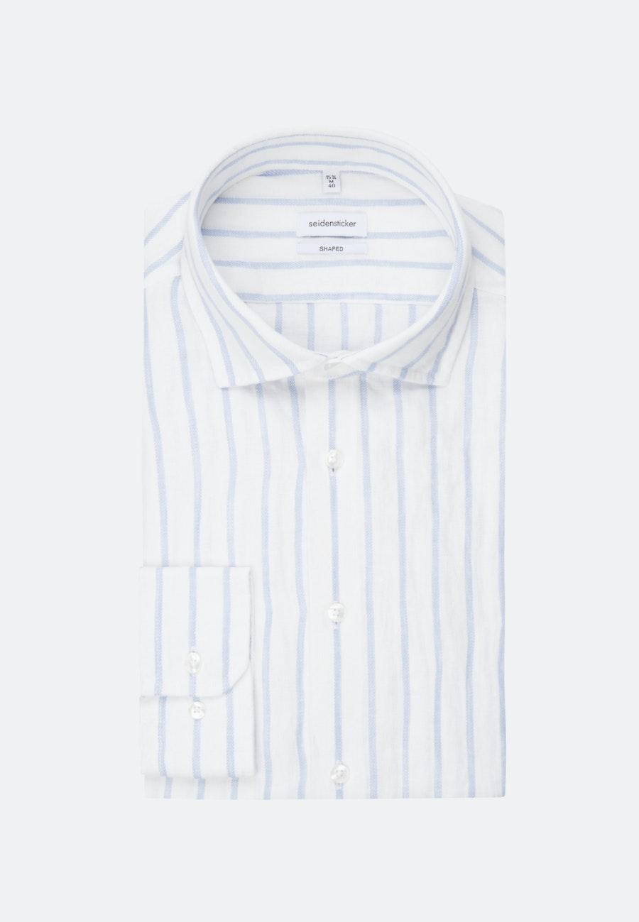 Easy-iron Leinen Business Shirt in Shaped with Kent-Collar in Light blue |  Seidensticker Onlineshop