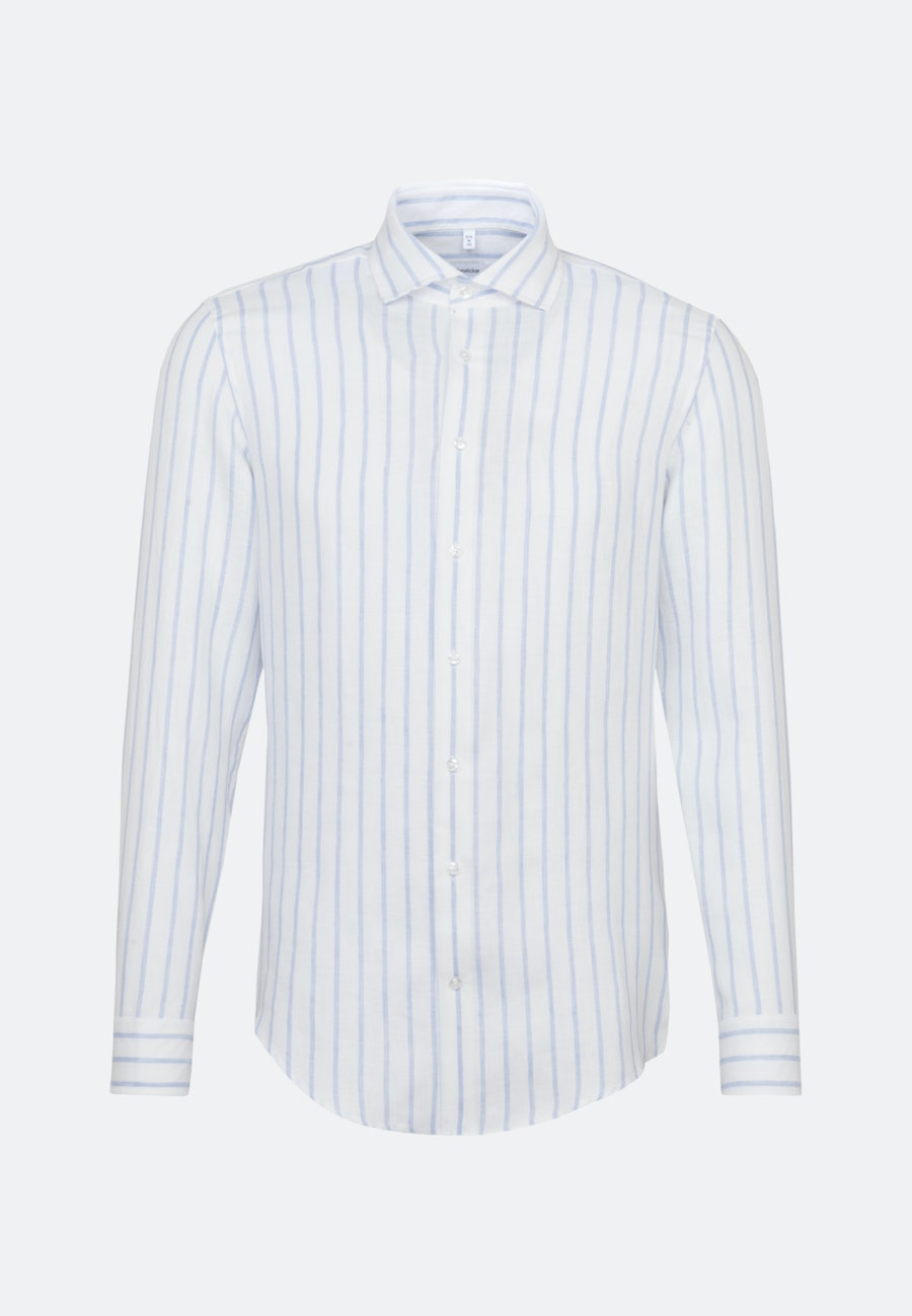 Easy-iron Linen Business Shirt in Shaped with Kent-Collar in Light blue |  Seidensticker Onlineshop