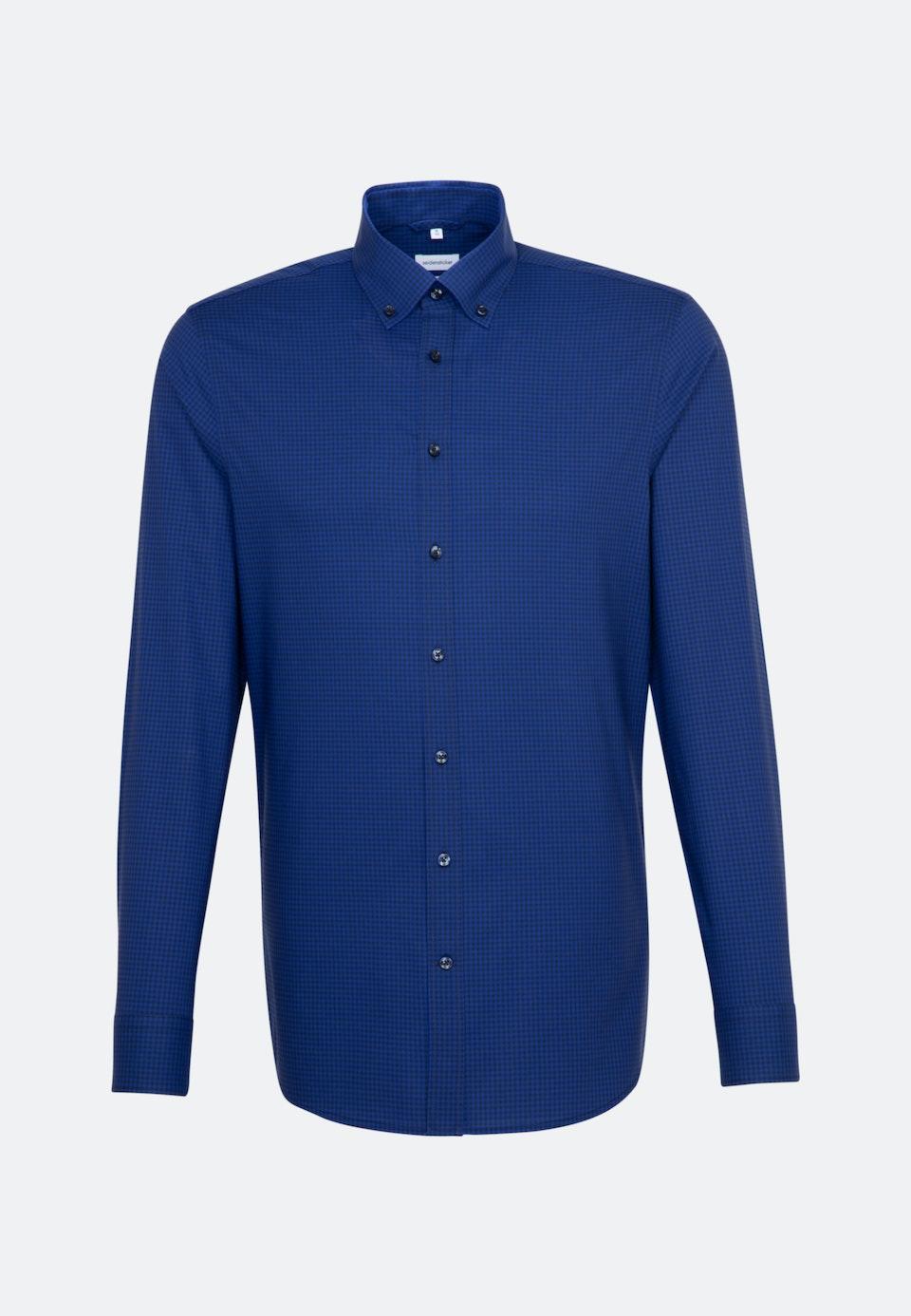 Non-iron Popeline Business Shirt in Slim with Button-Down-Collar in Medium blue |  Seidensticker Onlineshop