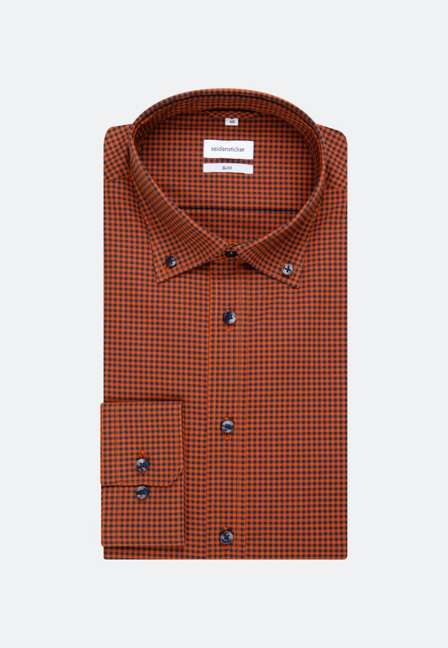 Bügelfreies Popeline Business Hemd in Slim mit Button-Down-Kragen in Orange |  Seidensticker Onlineshop