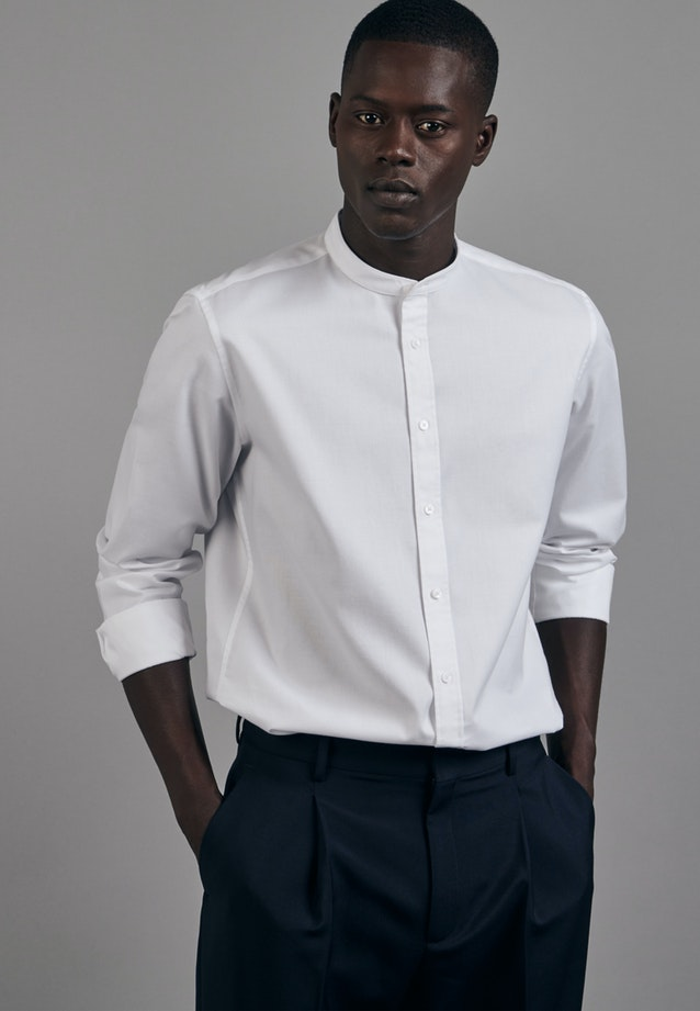 Twill Business Shirt in Slim with Stand-Up Collar in White |  Seidensticker Onlineshop
