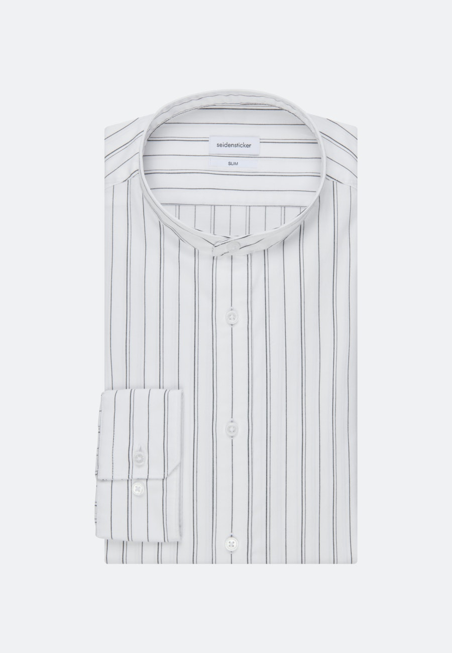 Twill Business Shirt in Slim with Stand-Up Collar in White    Seidensticker Onlineshop