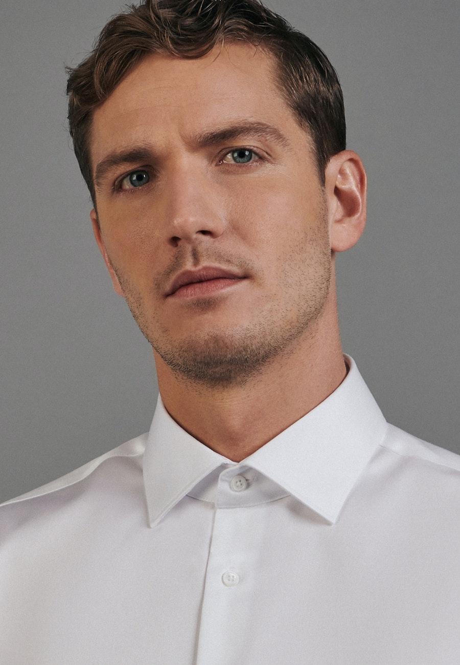 Bügelleichtes Twill Business Hemd in Shaped mit Kentkragen in Weiß |  Seidensticker Onlineshop
