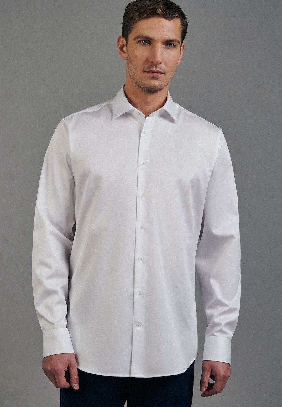 Easy-iron Twill Business Shirt in Shaped with Kent-Collar in White    Seidensticker Onlineshop
