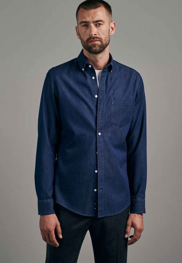 Easy-iron Denim Business Shirt in X-Slim with Button-Down-Collar in Dark blue |  Seidensticker Onlineshop