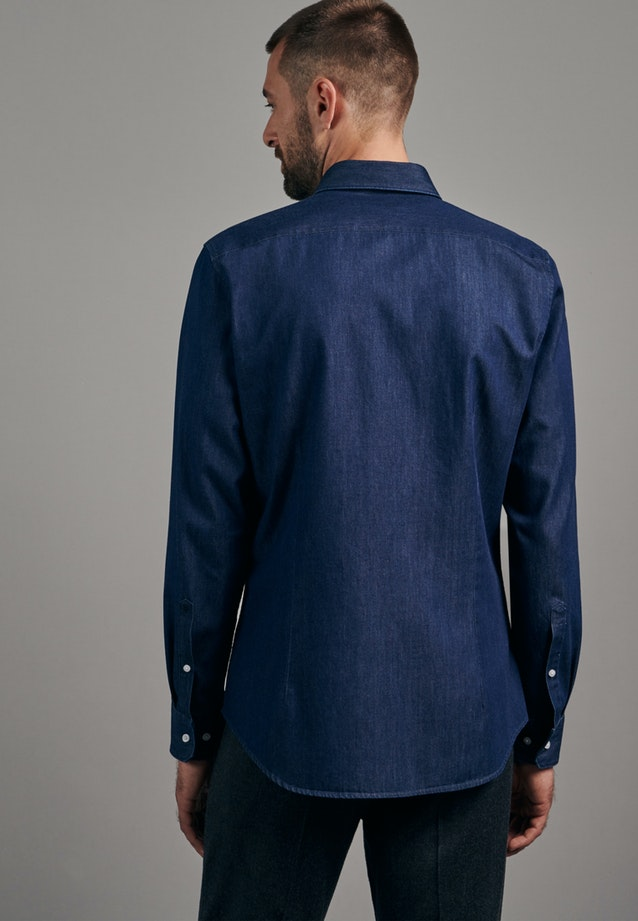 Bügelleichtes Denim Business Hemd in X-Slim mit Button-Down-Kragen in Dunkelblau |  Seidensticker Onlineshop