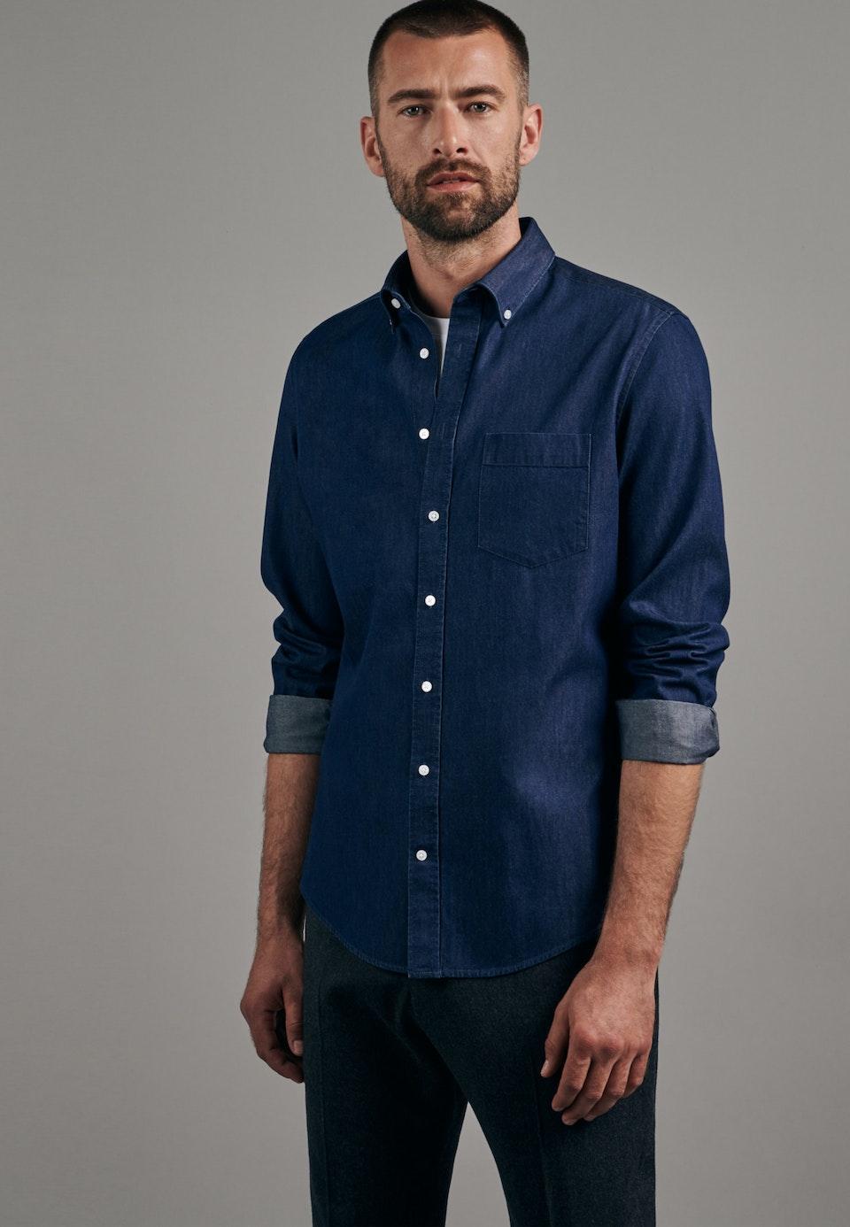 Easy-iron Denim Business Shirt in X-Slim with Button-Down-Collar in Dark blue |  Seidensticker Onlineshop