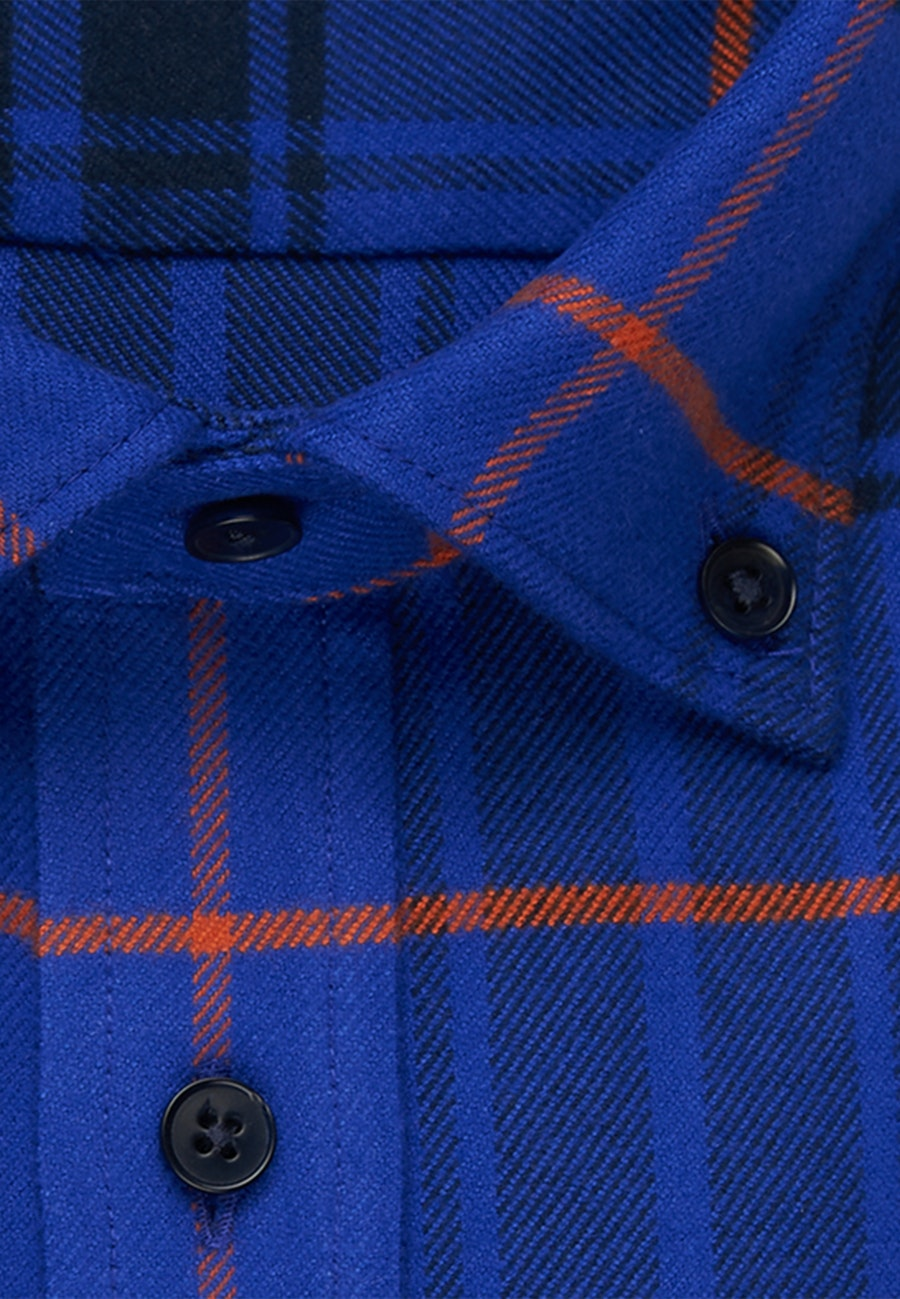 Flannel Business Shirt in Regular with Button-Down-Collar in Medium blue |  Seidensticker Onlineshop