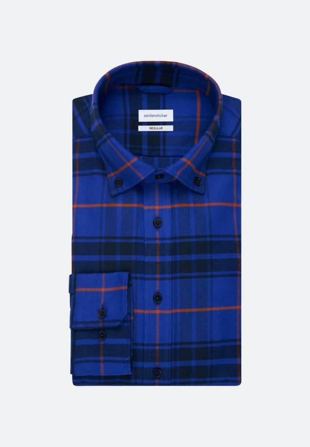 Flanell Business Hemd in Regular mit Button-Down-Kragen in Mittelblau |  Seidensticker Onlineshop