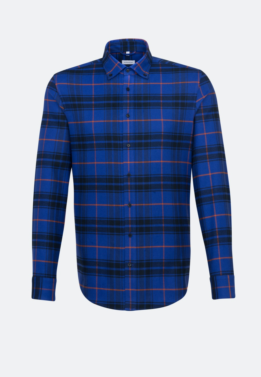 Flanell Business Shirt in Regular with Button-Down-Collar in Medium blue |  Seidensticker Onlineshop