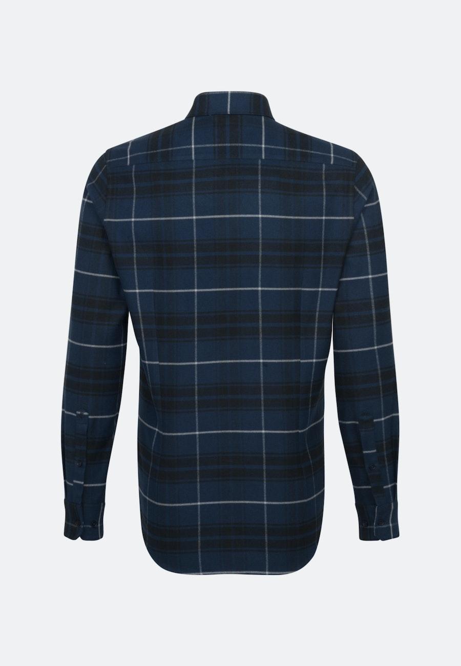 Flanell Business Hemd in Regular mit Button-Down-Kragen in Dunkelblau |  Seidensticker Onlineshop