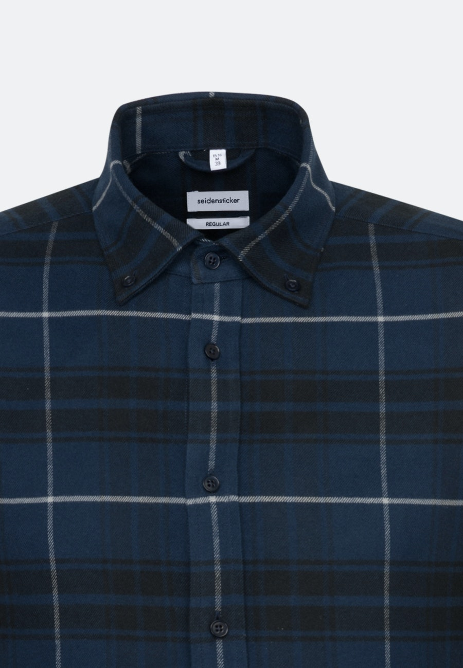 Flanell Business Shirt in Regular with Button-Down-Collar in Dark blue |  Seidensticker Onlineshop