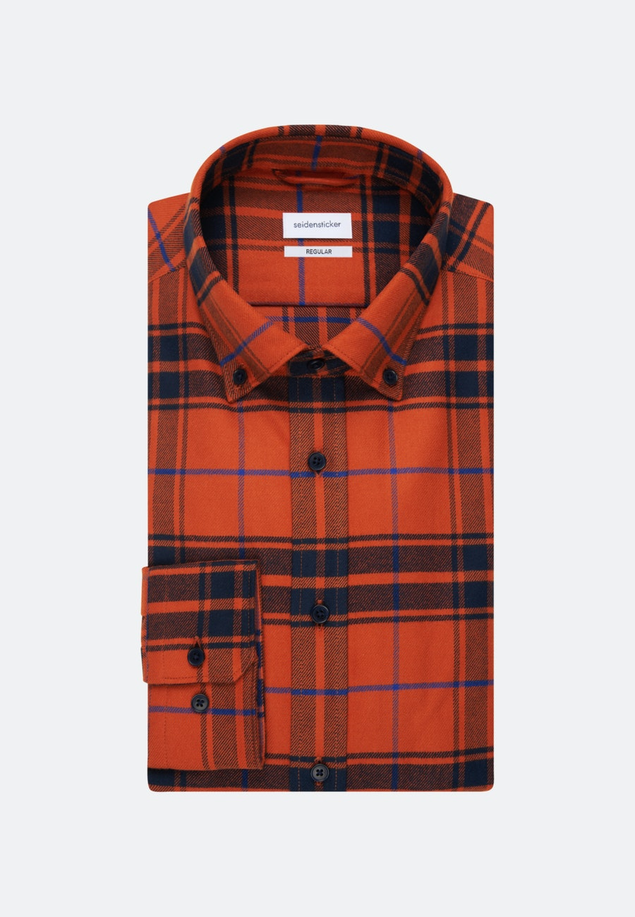 Flanell Business Hemd in Regular mit Button-Down-Kragen in Orange |  Seidensticker Onlineshop