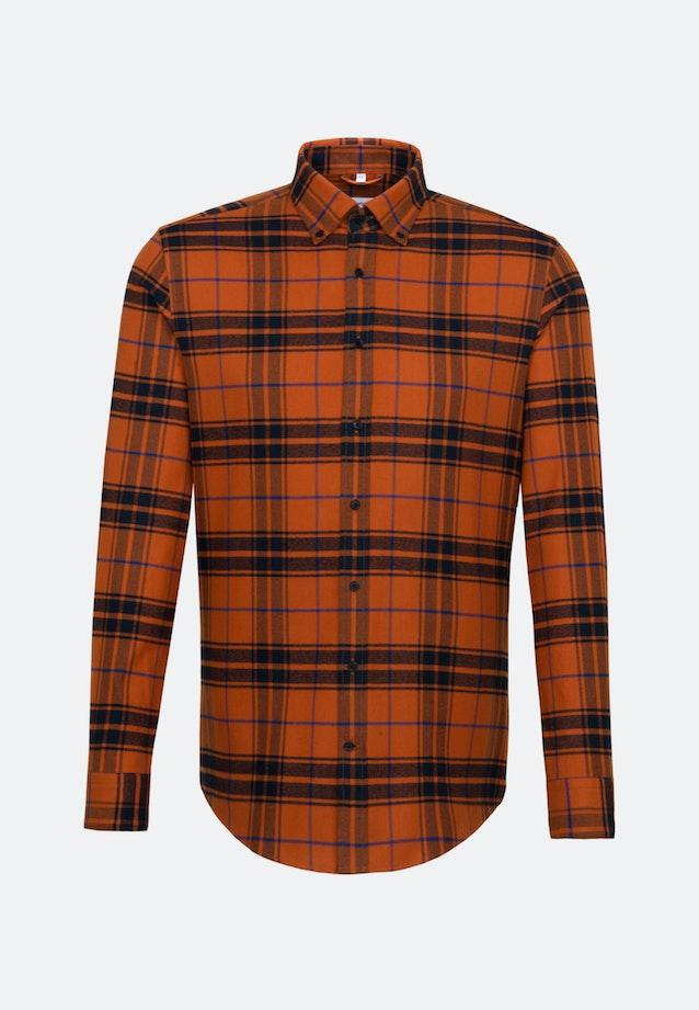 Flanell Business Hemd in Regular mit Button-Down-Kragen in Orange |  Seidensticker Onlineshop