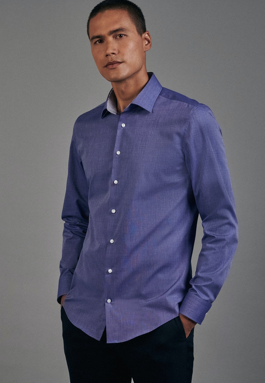 Non-iron Fil a fil Business Shirt in Slim with Kent-Collar in Medium blue |  Seidensticker Onlineshop