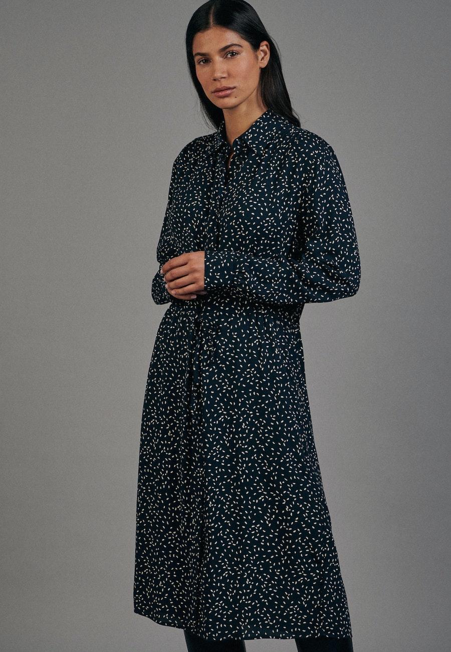 Jacquard Midi Kleid aus 100% Viskose in Dunkelblau    Seidensticker Onlineshop