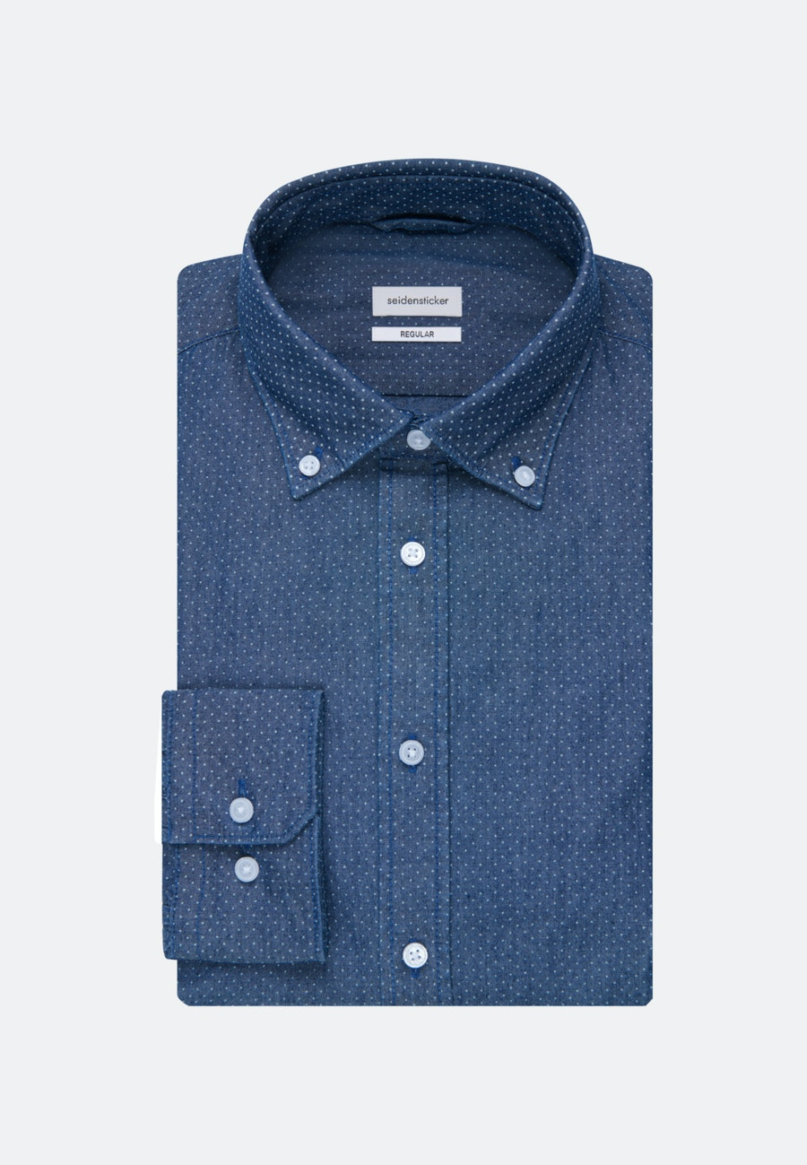 Bügelleichtes Chambray Business Hemd in Regular mit Button-Down-Kragen in Dunkelblau |  Seidensticker Onlineshop