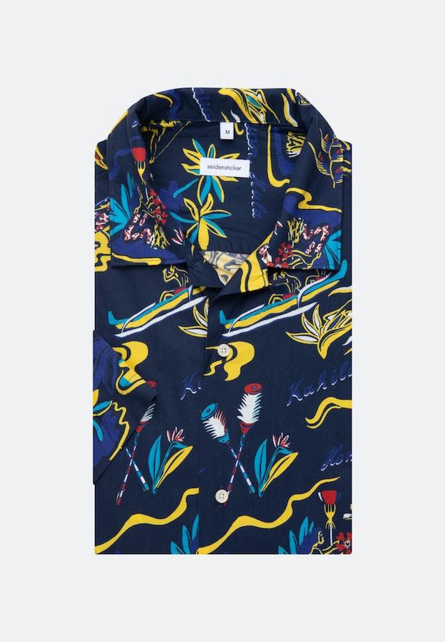 Easy-iron Poplin Short sleeve Business Shirt in Shaped with Lapel Collar in Dark blue |  Seidensticker Onlineshop
