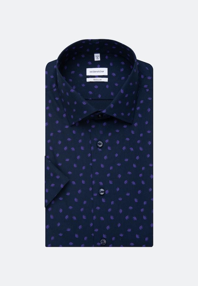 Bügelleichtes Popeline Kurzarm Business Hemd in Regular mit Kentkragen in Lila |  Seidensticker Onlineshop