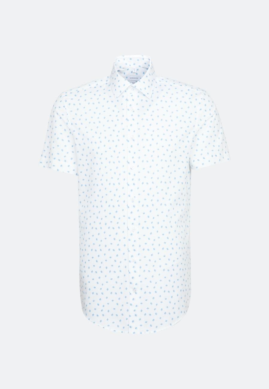 Bügelleichtes Popeline Kurzarm Business Hemd in Slim mit Kentkragen in Türkis/Petrol |  Seidensticker Onlineshop