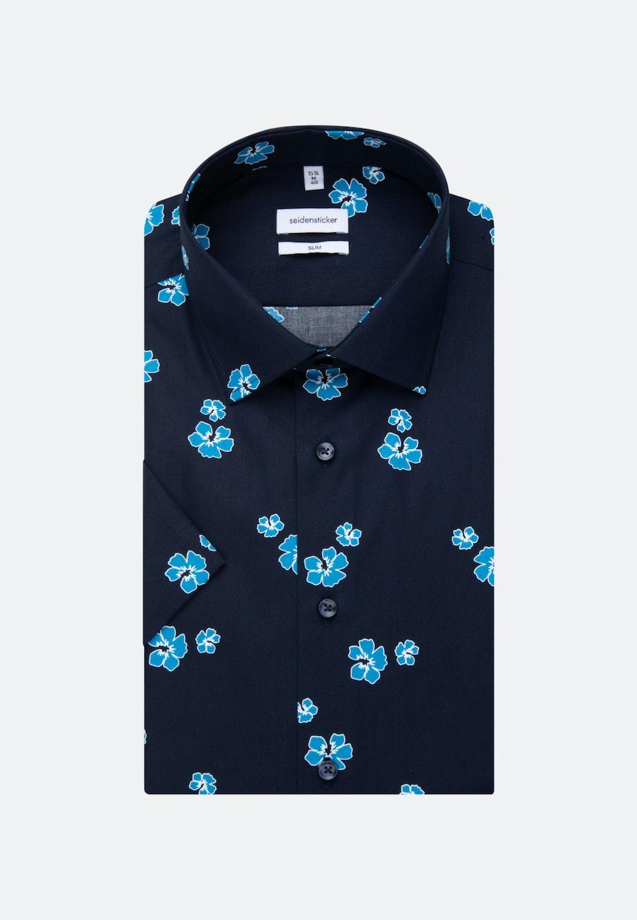 Poplin Short sleeve Business Shirt in Slim with Kent-Collar in Turquoise    Seidensticker Onlineshop