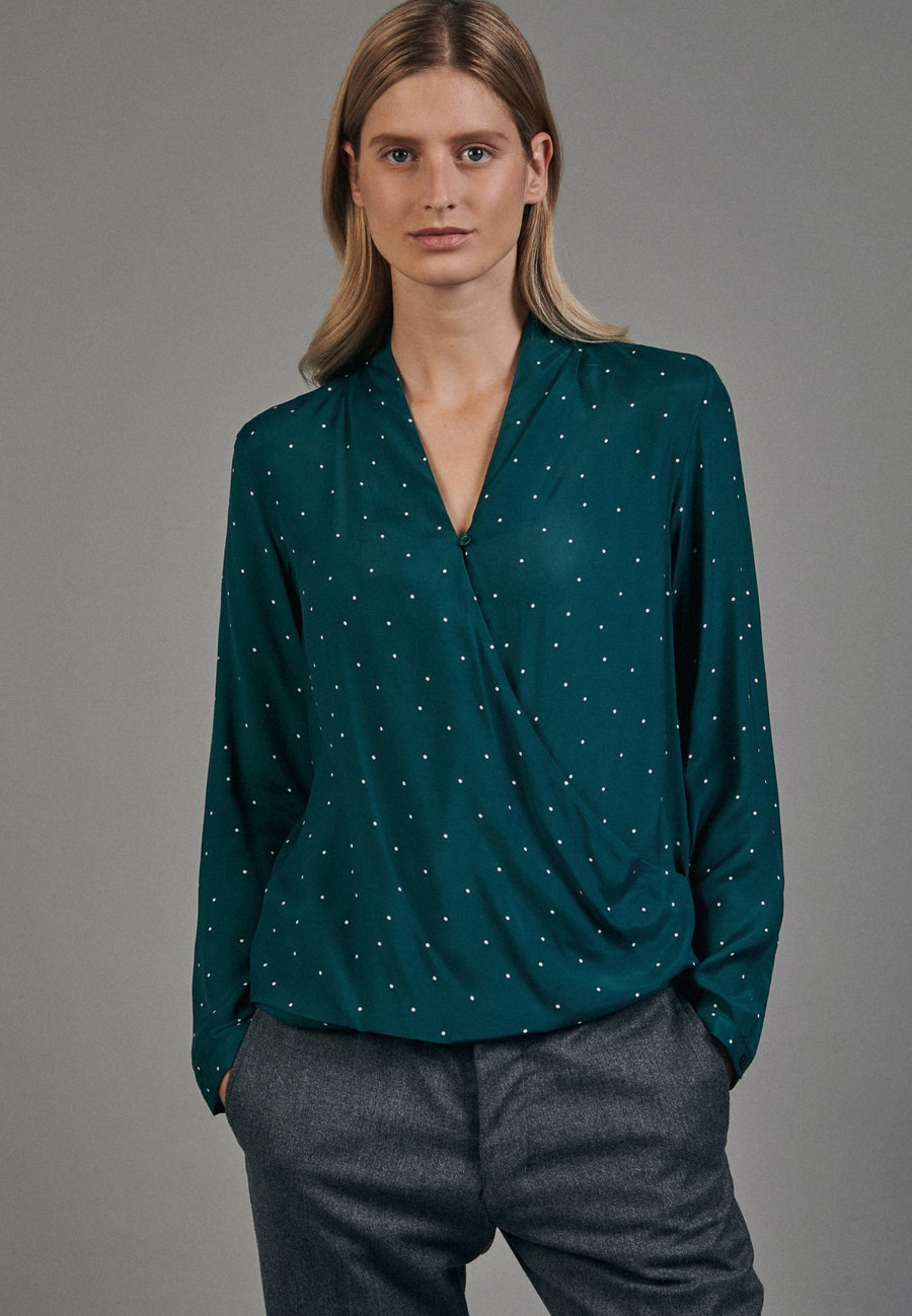 Voile Wraparound Blouse made of 100% Viscose in Green |  Seidensticker Onlineshop