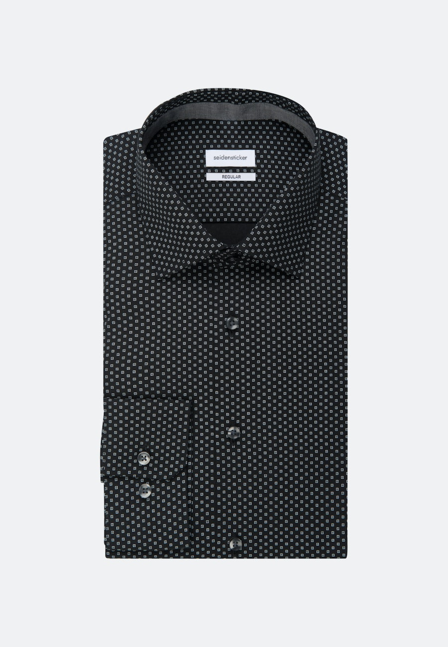 Easy-iron Poplin Business Shirt in Regular with Kent-Collar in Black |  Seidensticker Onlineshop