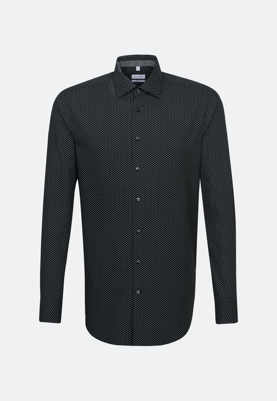 Easy-iron Popeline Business Shirt in Regular with Kent-Collar in Black |  Seidensticker Onlineshop