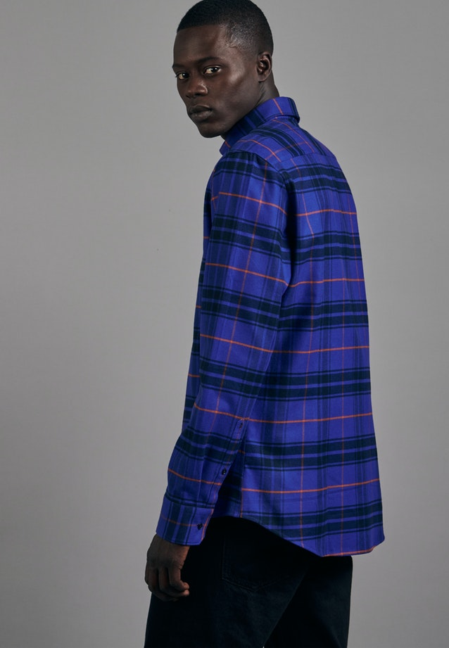 Flanell Business Hemd in Slim mit Button-Down-Kragen in Mittelblau |  Seidensticker Onlineshop