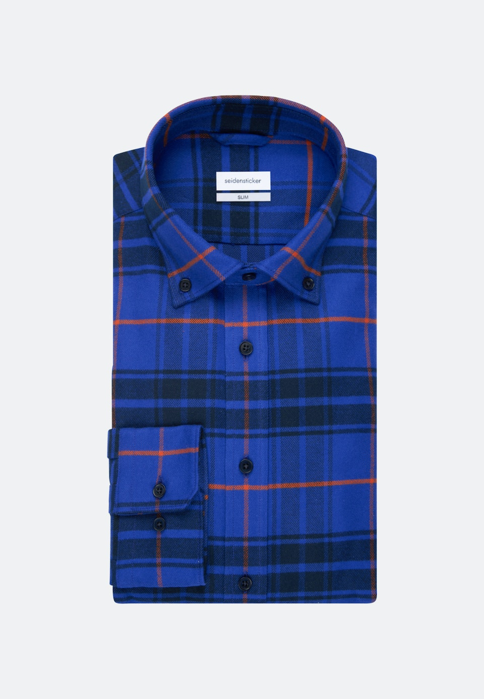 Flanell Business Shirt in Slim with Button-Down-Collar in Medium blue |  Seidensticker Onlineshop