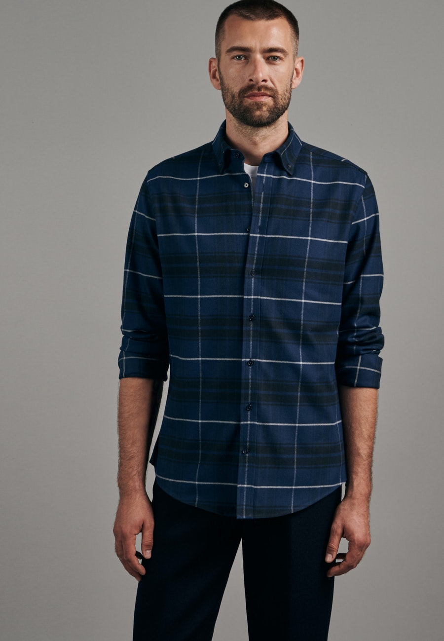 Flanell Business Hemd in Slim mit Button-Down-Kragen in Dunkelblau |  Seidensticker Onlineshop