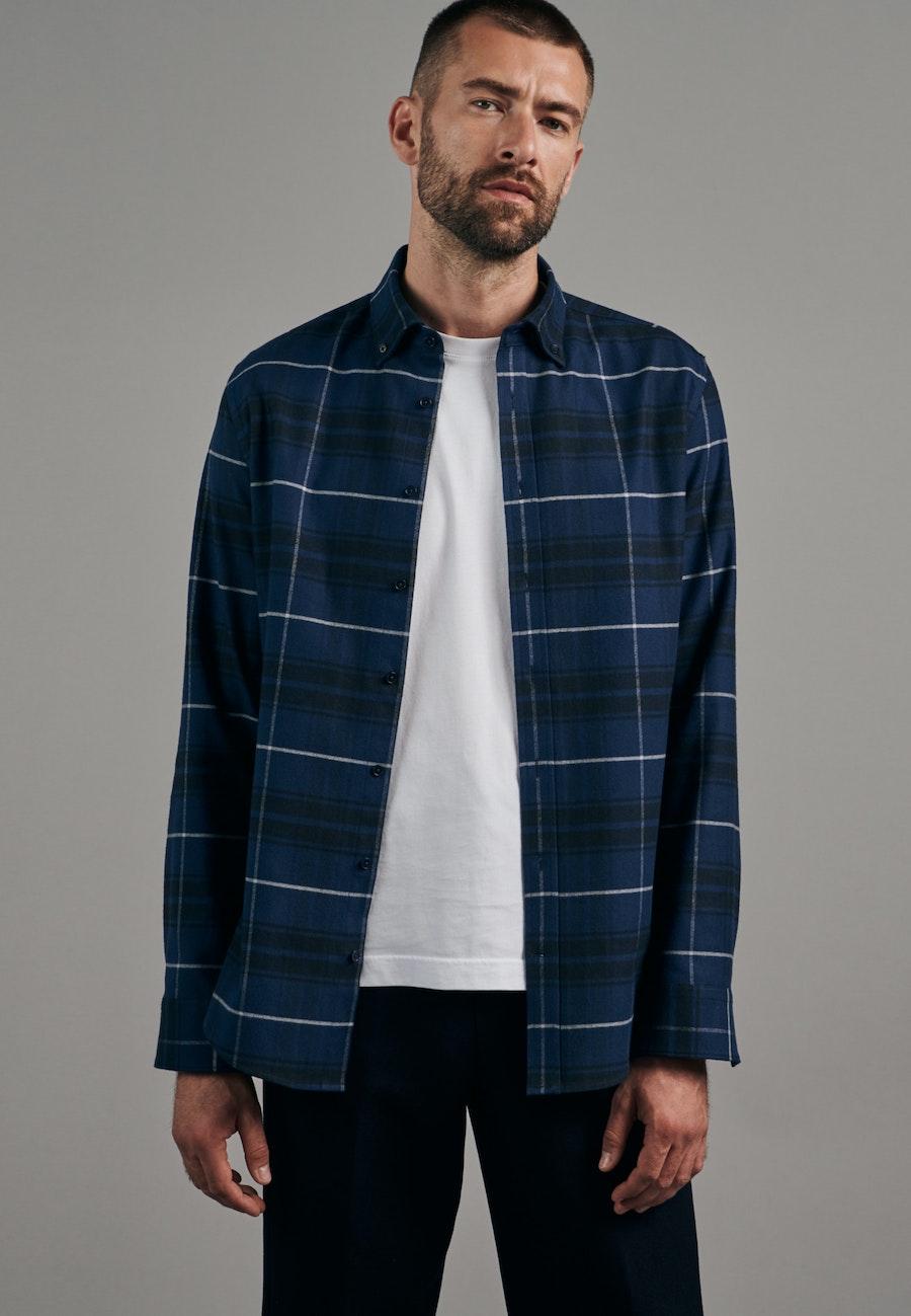 Flanell Business Shirt in Slim with Button-Down-Collar in Dark blue |  Seidensticker Onlineshop