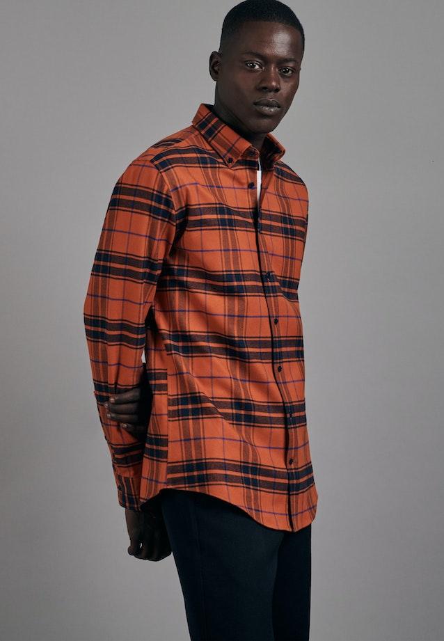 Flanell Business Hemd in Slim mit Button-Down-Kragen in Orange |  Seidensticker Onlineshop