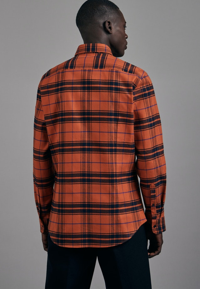 Flanell Business Hemd in Slim mit Button-Down-Kragen in Orange |  Seidensticker Onlineshop