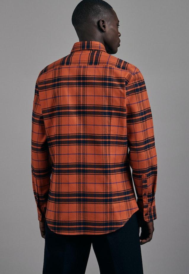 Flanell Business Shirt in Slim with Button-Down-Collar in Orange |  Seidensticker Onlineshop