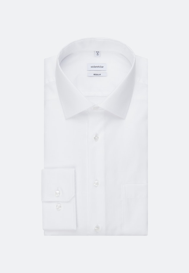 Non-iron Struktur Business Shirt in Regular with Kent-Collar and extra long sleeve in White    Seidensticker Onlineshop