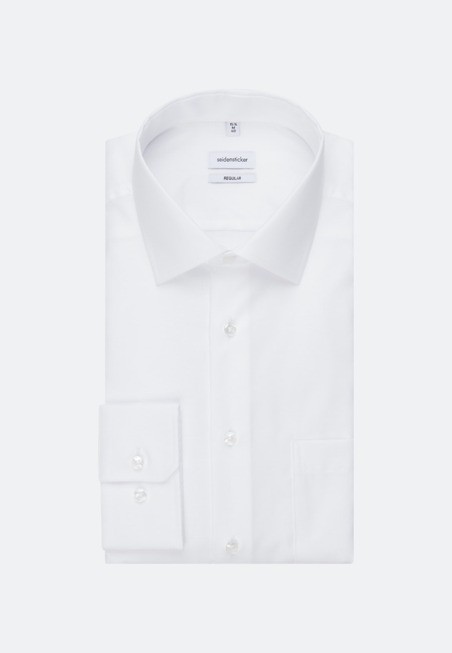 Non-iron Struktur Business Shirt in Regular with Kent-Collar and extra long sleeve in White |  Seidensticker Onlineshop