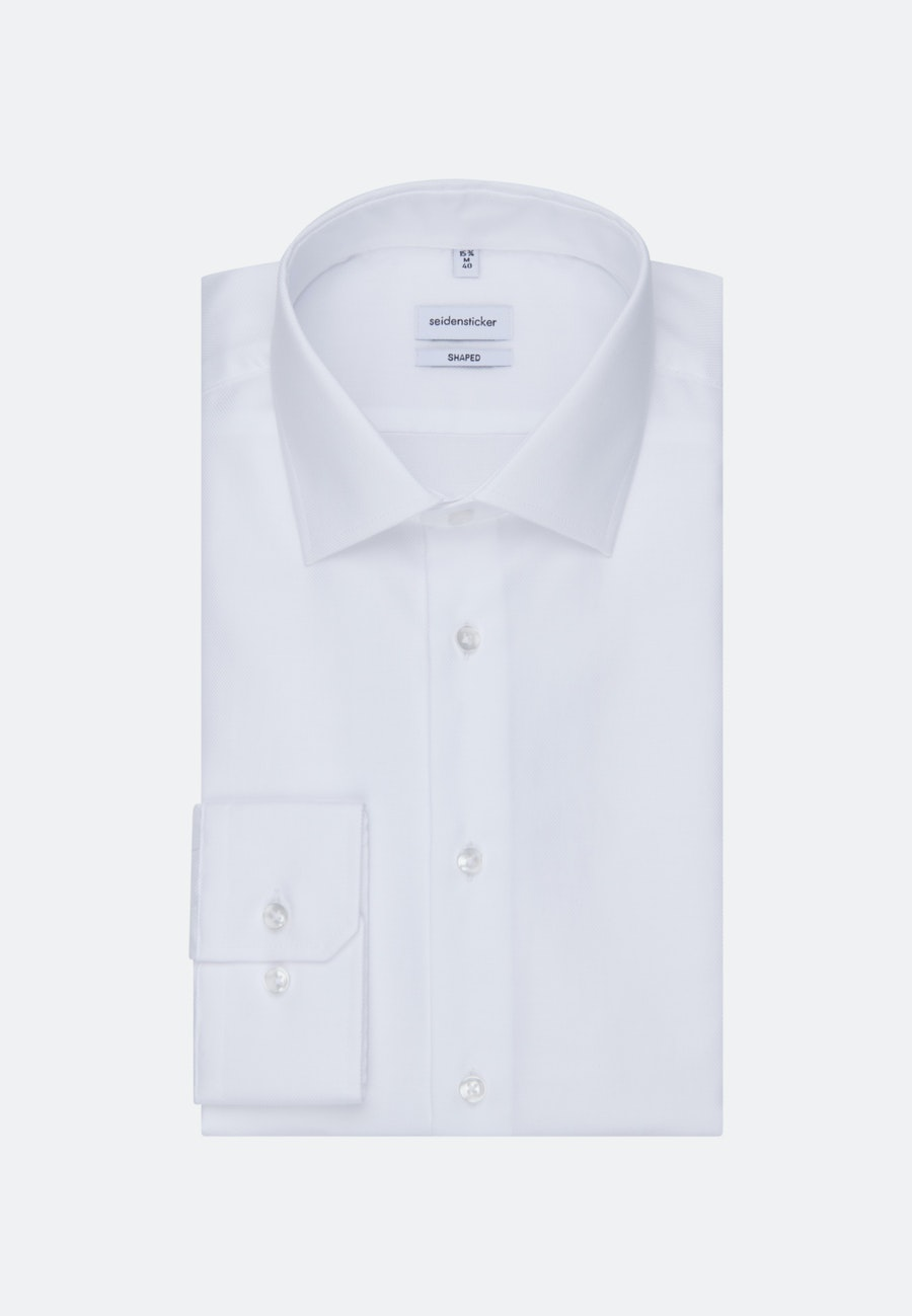 Non-iron Structure Business Shirt in Shaped with Kent-Collar and extra long sleeve in White |  Seidensticker Onlineshop