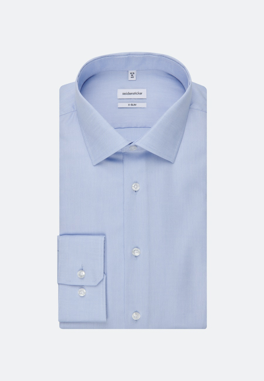 Non-iron Struktur Business Shirt in X-Slim with Kent-Collar and extra long sleeve in Light blue |  Seidensticker Onlineshop