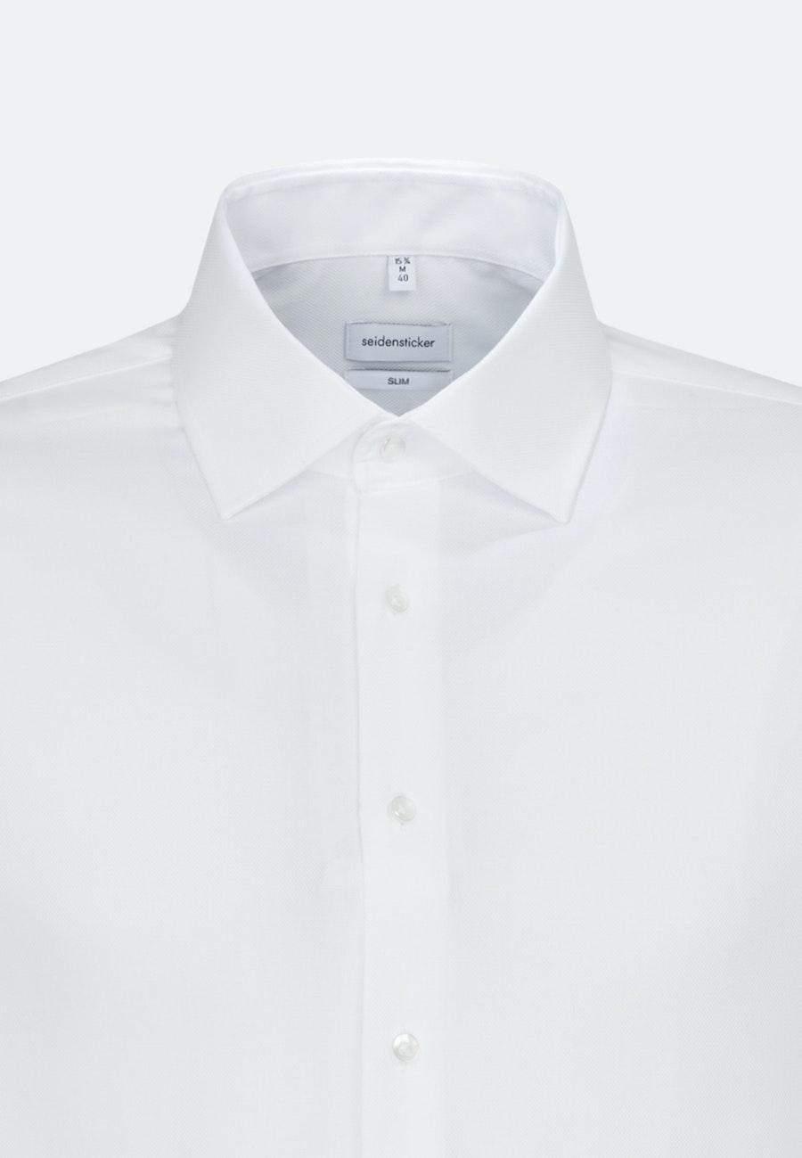 Bügelfreies Struktur Business Hemd in Slim mit Kentkragen und extra langem Arm in Weiß    Seidensticker Onlineshop